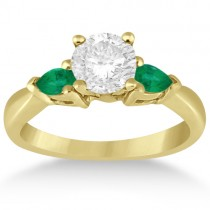 Pear Cut Three Stone Emerald Engagement Ring 14k Yellow Gold (0.50ct)