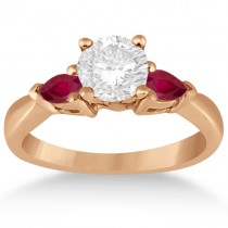 Pear Cut Three Stone Ruby Engagement Ring 14k Rose Gold (0.50ct)