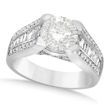 Diamond Baguette Accented Engagement Ring 18k White Gold (2.45ct)
