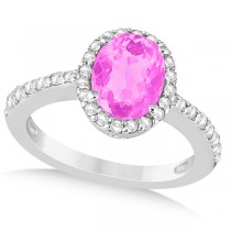 Oval Halo Pink Sapphire Engagement Ring Setting 14k White Gold (3.29ct)