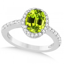 Oval Halo Peridot Engagement Ring Setting 14k White Gold (3.29ct)