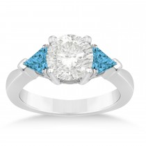 Blue Diamond Three Stone Trilliant Engagement Ring 14k White Gold (0.70ct)