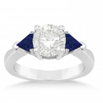 Blue Sapphire Three Stone Trilliant Engagement Ring 14k White Gold (0.70ct)