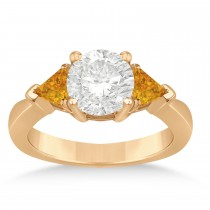 Citrine Three Stone Trilliant Engagement Ring 14k Rose Gold (0.70ct)