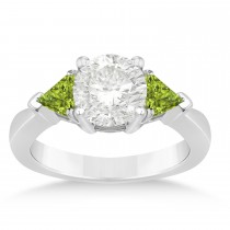 Peridot Three Stone Trilliant Engagement Ring 14k White Gold (0.70ct)