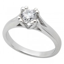 Double Prong Trellis Engagement Ring Palladium Setting