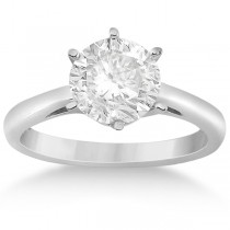 Six-Prong Palladium Solitaire Engagement Ring Setting