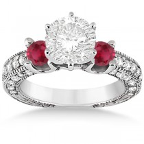 Three-Stone Ruby & Diamond Engagement Ring 14k White Gold 1.13ct