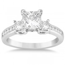 Round & Princess Cut 3 Stone Diamond Engagement Ring Palladium 0.50ct