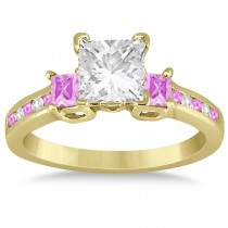 Pink Sapphire Three Stone Engagement Ring in 14k Yellow Gold (0.62ct)
