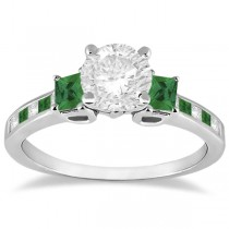Princess Cut Diamond & Emerald Engagement Ring Platinum (0.64 ctw)