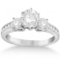 Three-Stone Diamond Engagement Ring with Sidestones in 14k White Gold (0.45 ctw)