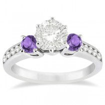 Three-Stone Amethyst & Diamond Engagement Ring Palladium (0.45ct)