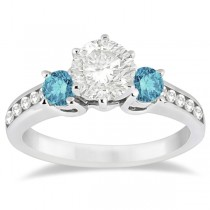 3 Stone Fancy White & Blue Diamond Engagement Ring (0.45 ctw)