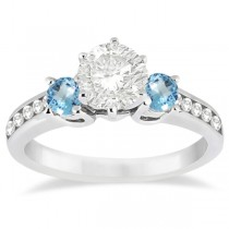 Three-Stone Blue Topaz & Diamond Engagement Ring Palladium (0.45ct)