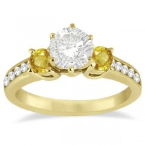 3 Stone Yellow Sapphire & Diamond Engagement Ring 14k Y. Gold (0.45ct)