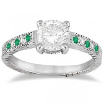Vintage Emerald & Diamond Engagement Ring 14k White Gold 0.29ct