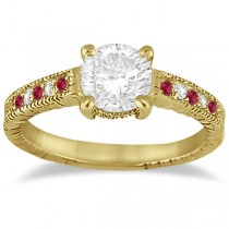Vintage Ruby & Diamond Engagement Ring 14k Yellow Gold 0.31ct