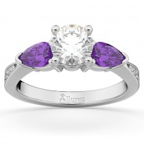 Diamond & Pear Amethyst Engagement Ring 14k White Gold (0.79ct)