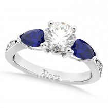 Round Diamond & Pear Blue Sapphire Engagement Ring 18k White Gold (1.79ct)