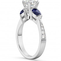 Diamond & Pear Blue Sapphire Engagement Ring 14k White Gold (0.79ct)