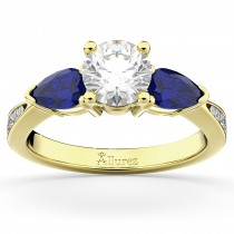 Diamond & Pear Blue Sapphire Engagement Ring 14k Yellow Gold (0.79ct)