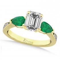 Emerald Diamond & Pear Green Emerald Engagement Ring 18k Yellow Gold (1.79ct)