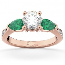 Diamond & Pear Green Emerald Engagement Ring 18k Rose Gold (0.61ct)