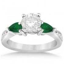 Diamond & Pear Green Emerald Engagement Ring Palladium (0.61ct)