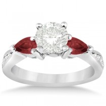 Diamond & Pear Garnet Engagement Ring Platinum (0.79ct)