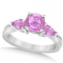 Diamond & Pear Pink Sapphire Engagement Ring 14k White Gold (1.79ct)
