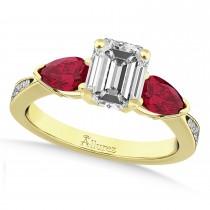 Emerald Diamond & Pear Ruby Gemstone Engagement Ring 18k Yellow Gold (1.29ct)