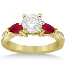 Diamond & Pear Ruby Gemstone Engagement Ring 14k Yellow Gold (0.79ct)
