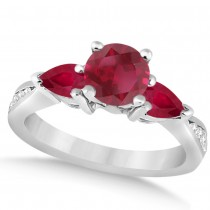 Diamond & Pear Cut Ruby Engagement Ring 14k White Gold (1.79ct)