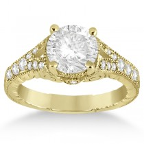 Antique Style Art Deco Diamond Engagement Ring 14K Yellow Gold (0.33ct)