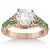 Antique Style Art Deco Emerald Engagement Ring 14k Rose Gold (0.33ct)