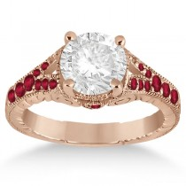 Antique Style Art Deco Ruby Engagement Ring 14k Rose Gold (0.33ct)