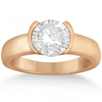 Half-Bezel Solitaire Engagement Ring Setting in 14k Rose Gold