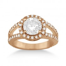 Split Shank Pave Halo Diamond Engagement Ring 14k Rose Gold (0.75ct)