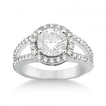 Split Shank Pave Halo Diamond Engagement Ring 14k White Gold (0.75ct)