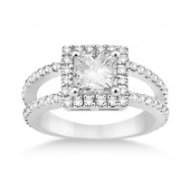 Princess Cut Halo Diamond Engagement Ring Setting Platinum (0.72ct)