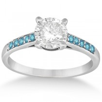 Cathedral Pave Blue Diamond Engagement Ring 14k White Gold (0.20ct)