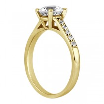 Cathedral Pave Diamond Engagement Ring Setting 18k Yellow Gold (0.20ct)