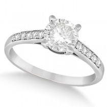 Cathedral Style Round Diamond Engagement Ring 14k White Gold (0.75ct)