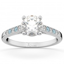 Cathedral Aquamarine and Diamond Engagement Ring 14k White Gold (0.20ct)