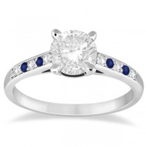 Cathedral Pave Sapphire & Diamond Engagement Ring Platinum (0.20ct)