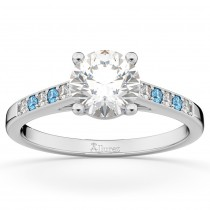 Cathedral Blue Topaz and Diamond Engagement Ring 14k White Gold (0.20ct)