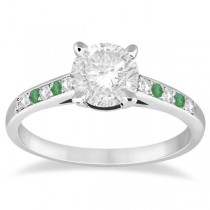 Cathedral Emerald & Diamond Engagement Ring 14k White Gold (0.20ct)