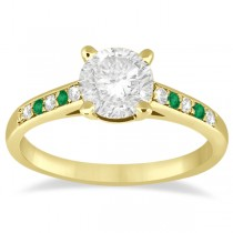 Cathedral Emerald & Diamond Engagement Ring 14k Yellow Gold (0.20ct)