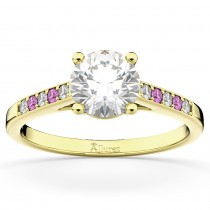 Cathedral Pink Sapphire & Diamond Engagement Ring 14k Yellow Gold (0.20ct)